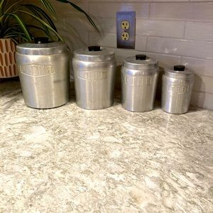 Collectible Metal Kitchen 4 piece Canister Set